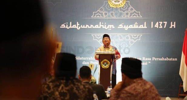 Ketua Umum LDII Abdullah Syam Memberikan Sambutan Pada Silaturahim Syawal 1437 H di Kantor DPP LDII